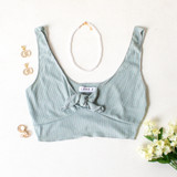 -Sage Green Color -Thick Tank Straps -Ties in Front -V-Neck -Ribbed -Crop Top  Materials: 89% Polyester | 9% Rayon | 2% Spandex  TB9264 CROP GRN