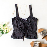 -Black Color -Ribbed -Open Front -Double Tie -Tank Straps -Tank Top -Ruffle Hem  Materials: 91% Polyester   9% Spandex  TB9273 TANK BLK