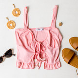 -Pink Color -Ribbed -Open Front -Double Tie -Tank Straps -Tank Top -Ruffle Hem  Materials: 91% Polyester   9% Spandex  TB9273 TANK PNK