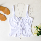 -White Color -Ribbed -Open Front -Double Tie -Tank Straps -Tank Top -Ruffle Hem  Materials: 91% Polyester   9% Spandex  TB9273 TANK WHT