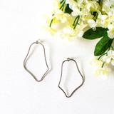 -Silver Color -Abstract Oval Shape -Post Backings -Dangle -Earrings  0621 DANGLE EARRING 12