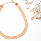 -Gold Color -Chain Band Pattern -Clasp Closure -Necklace -Choker  0521 CHOKER 12 CHAIN GOLD