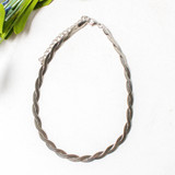 -Silver Color -Twist Chain Pattern -Clasp Closure -Necklace -Choker  0621 CHOKER TWIST 12