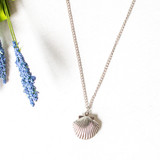 -Silver Color -Long Chain -Clasp Closure -Seashell Charm -Locket -Necklace  0621 CHARM NECKLACE SHELL 12
