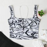 -Navy, Grey, and White Colors -Marble Print -Lightweight Knit Fabric -Square Neckline -Thick Straps -Corset Stitching -Tank Top -Crop Top  Materials: 95% Polyester | 5% Spandex  50117TBS CROP ZEB