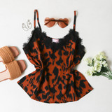 -Black and Brown Colors -Cheetah Print -V-Neck -Lace Trim at Neckline -Spagetti Straps -Non-Adjustable -Flowy Fit -Tank Top -Cami  Materials: 100% Polyester  49743TJQ TANK CHTA