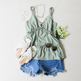 -Sage/Green Color -V-Neck -Ruffle Trim Straps -Non-Adjustable -Tiered Ruffles -Long Fit -Cami -Tank  Materials: 95% Polyester   5% Spandex  51055TYO TANK MNT