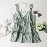 -Sage/Green Color -V-Neck -Ruffle Trim Straps -Non-Adjustable -Tiered Ruffles -Long Fit -Cami -Tank  Materials: 95% Polyester | 5% Spandex  51055TYO TANK MNT