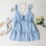 -Baby Blue Color -V-Neck -Ruffle Trim Straps -Non-Adjustable -Tiered Ruffles -Long Fit -Cami -Tank  Materials: 95% Polyester | 5% Spandex  51055TYO TANK BLU