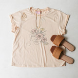 -Tan Color -Face and Flower Print -Crew Neck -Cuffed Short Sleeves -Full Length -Tee Shirt  Materials: 80% Polyester | 35% Cotton | 5% Spandex  50190TXY TEE FACE