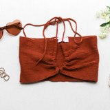 -Rust Tan Color -Criss Cross Drawstrings -Soft Sweater Material -Keyhole Cut Out -Halter Top -Crop Top  Materials: 50% Viscose | 28% Polyester | 22% Nylon  51355TYH CROP RST
