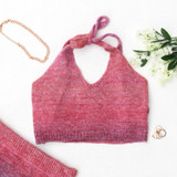 -Pink and Purple Colors -Sweater Material -Halter Top -V-Neck -Crop Top -Two Piece Set (Top)  Materials: 58% Acrylic | 29% Polyester | 9% Nylon | 4% Wool  51353SYH CROP PNK