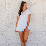 -White Color -V-Neck -Short Sleeves -Flares at Waist -Babydoll Fit -Top  Materials: 95% Polyester | 5% Spandex  50076TYO TEE WHT