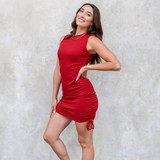 -Wine Red Color -Crew Neck -Drawstrings on Both Sides -Sleeveless -Ribbed -Bodycon -Dress  Materials: 65% Cotton   35% Polyester  50159DYD DRESS WIN