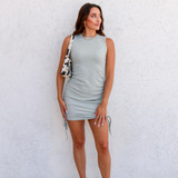 -Sage Green Color -Crew Neck -Drawstrings on Both Sides -Sleeveless -Ribbed -Bodycon -Dress  Materials: 65% Cotton   35% Polyester  50159DYD DRESS MNT