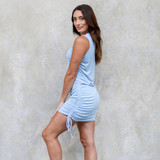 -Baby Blue Color -Crew Neck -Drawstrings on Both Sides -Sleeveless -Ribbed -Bodycon -Dress  Materials: 65% Cotton | 35% Polyester  50159DYD DRESS BLU
