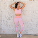 -Peach and Pink Color -Activewear Material -Stripes on Sides and Waistband -Elastic Waistband -Stretchy  -Workout Set (Bottoms) -Workout Pants  Materials: 86% Nylon   14% Spandex  48657SS PANT PNK