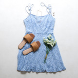 -Baby Blue Color -Spagetti Straps -Straps Tie (Adjustable) -Sweetheart Neckline -Ruffle Bottom -Dress  Materials: 60% Cotton | 40 Rayon  50119DBS DRESS BLUF