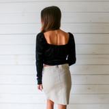 -Black Color -Square Neckline -Velvet Texture -Elastic Shoulder -Corset Detail in Front -Long Sleeve -Crop Top -Top  Materials: 95% Polyester | 5% Spandex  T8761 TOP BLKV