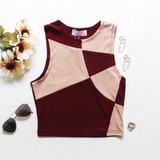 -Rust and Cream Color -Color Block Pattern -High Neckline -Sleeveless  -Ribbed -Crop Top -Top  Materials: 95% Polyester | 5% Spandex  51046 TANK BRN