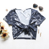 -Powder Blue Color -Dragon Print -T-Shirt Sleeves -V-Neck -Ties in Front -Crop Top -Fabric Stretches -Top -Set  Material: 95% Polyester   5% Spandex  S1318 CROP DGON