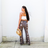 -Brown, Blue, and White Colors -Bohemian Floral and Paisley Pattern -Elastic Waistband -Flare Pant Leg -Fabric Stretches -Pants  Materials: 95% Polyester | 5% Spandex  P1560 PANT BRNP