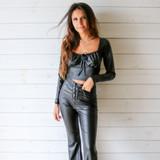 -Black Color -Square Elastic Neckline -Ties in Front -Long Sleeves -Crop Top -Top -Set  Material: 92% Polyester | 8% Spandex  T7285 CROP BLK