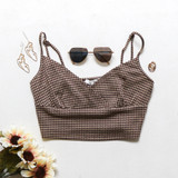 -Tan and Brown Color -V-Neck -Spagetti Straps -Adjustable Straps -Crop Top -Top  Materials: 85% Polyester | 10% Cotton | 5% Spandex  T8762 CROP TAN