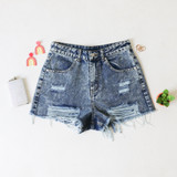-Distressed Medium Denim Wash -High Waisted -Belt Loops -Pockets -Raw Hem -Shorts  Materials: 100% Cotton   HF21G009 SHORT DNM