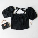 -Black Color -Puff Sleve -Elastic Neckline -Ties in Front and Back -Zipper Closure -Crop Top -Top  Materials: 55% Cotton 45% Polyester   HF21G029 TOP BLK