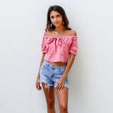 -Pink Color -Puff Sleve -Elastic Neckline -Ties in Front and Back -Zipper Closure -Crop Top -Top  Materials: 55% Cotton 45% Polyester   HF21G029 TOP PNK