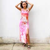 -Pink, Purple, and Orange Tie Dye -Ruffle Sleeves -V-Neckline -Square Back -Bodycon Silhouette -Side Slit -Maxi Dress  Materials: 100% POLYESTER  HMD13102 MAXI TYDY