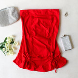 -Red Color -High Waisted -Drawstring Ties on Front -Elastic Back -Ruffle on Bottom -Two Piece Set -Skirt  Materials: 72% Rayon | 24% Nylon | 4% Spandex  SSET7059 SKIRT RED