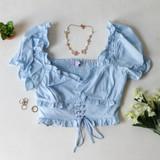BABY BLUE CORSET & RUFFLE CROP TOP - SET TOP