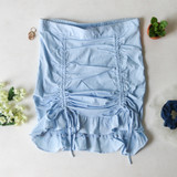 -Baby Blue Color -High Waisted -Drawstring Ties on Front -Elastic Back -Ruffle on Bottom -Two Piece Set -Skirt  Materials: 72% Rayon | 24% Nylon | 4% Spandex  SSET7059 SKIRT BLU