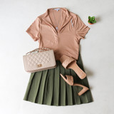 -Tan Color -Collared Shirt -Zipper in Front -Short Sleeves -Fabric Stretches -Crop Rop  Materials: 95% Polyester | 5% Spandex  IT91680 TEE TAN