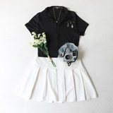 -Black Color -Collared Shirt -Zipper in Front -Short Sleeves -Fabric Stretches -Crop Rop  Materials: 95% Polyester | 5% Spandex  IT91680 TEE BLK
