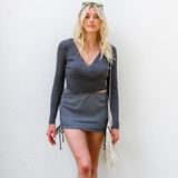 -Grey Color -Wrap Surplice Neckline -V-Neck -Thick Material -Long Sleeve -Knit Material -Crop Top  Materals: 47% Rayon | 27% Nylon | 26% Polyester  BSW06143 TOP GRY