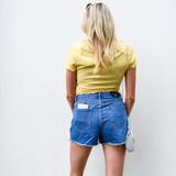 -Medium Denim Wash -Distressed -Frayed -Pockets on Front and Back -Belt Loops -Rhinestone Belt Detail -Shorts  Materials: 100% Cotton  DBS0448 SHORT MDD