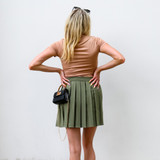 -Olive Green Color -Pleated Design -Zipper on Side -Elastic Waistband -Not Lined -Skirt  Materials: 95% Polyester | 5% Spandex  HMS40636 SKIRT OLV