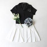 -White Color -Pleated Design -Zipper on Side -Elastic Waistband -Not Lined -Skirt  Materials: 95% Polyester | 5% Spandex  HMS40636 SKIRT WHT