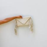 -White Color -Envelope Shape -Moccasin Fringe -Gold Chain Strap -Strap is Removable -Pocket Inside -Bag  0721 CCBAG 24 FRINGE
