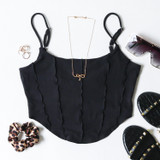 -Black Color -Spaghetti Straps (Adjustable) -Raw Lettuce Hem -Corset Piping Detail -Longer in Front -Crop Top -Tank  Materials: 90% Polyester | 10% Spandex  TI6059 CROP BLK