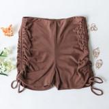 -Brown Color -Thick Material -Drawstring on Sides -Can Be Adjusted  -Biker Shorts -Shorts  Materials: 95% Polyester | 5% Spandex  PGI3356 SHORT TAN