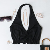 -Black Color -Halter Top (Non-Adjustable) -Scoop Neckline -Ruched Up Front -Elastic Waist -Halter Top -Crop Top  Materials: 95% Polyester | 5% Spandex  TGI4181 CROP BLK