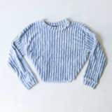 -Blue Color -Crew Neck -Ribbed Pattern -Super Soft Material -Long Sleeves -Sweatshirt  Materials: 100% Polyester  IT91396 SWTR BLU