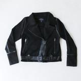 -Black Color -Faux Suede -Front Zip Closure -Side Pockets -Long Sleeves -Front Notched Collar -Belted Waist -Moto Jacket  Materials: 94% POLYESTER   6% SPANDEX  HMJ20577 JKT BLK