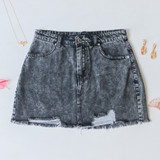 -Dark Wash Denim -Distressed Wash -Front and Back Pockets -Raw Hem -Button and Zipper Closure -Comes in 3 Colors -Skirt  Materials: 100% Cotton  HF21G100 SKIRT BLK