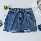 -Medium Wash Denim -Distressed Wash -Front and Back Pockets -Raw Hem -Button and Zipper Closure -Comes in 3 Colors -Skirt  Materials: 100% Cotton  HF21G100 SKIRT DNM