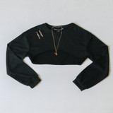 -Black  -High-Rise in Front -Crew Neck -Long-Sleeve -Pull-Over -Crop Top -Sweater  Materials: 100% Polyester  HF21F500 CROP BLK